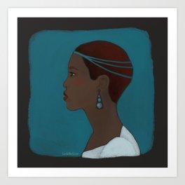 City girl with headdress Art Print