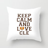 nfl Throw Pillows featuring LOVE CLE BROWNS II by C. Wie Design