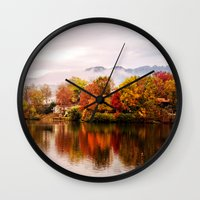 north carolina Wall Clocks featuring Lake Junaluska, North Carolina by Mary Timman