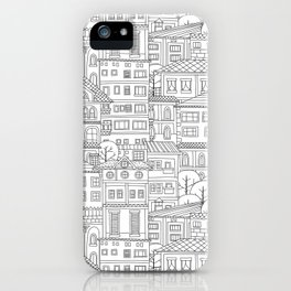 Doodle town pattern iPhone Case