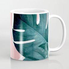Monstera Leaves on Pink Mug