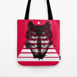 Red wolf white 4 Tote Bag