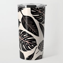 Monstera pattern in black and pastel Travel Mug