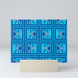 Wavy Geometric Blues Mini Art Print