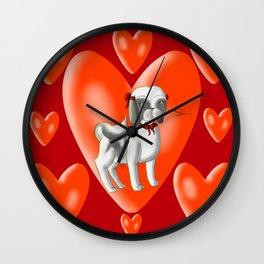 Valentines day shitzu  Wall Clock