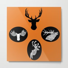 'Endearing' Moose, Elk, and Deer pattern Metal Print