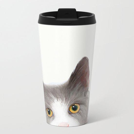 Cat with Yellow Eyes Metal Travel Mug