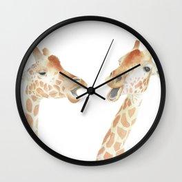 Giraffes Watercolor Wall Clock