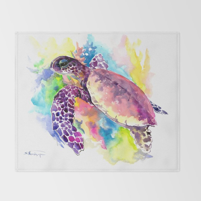 Sea Turtle in Coral Reef, tropical colors sea world purple yellow blue turtle art, turtle illustrati Throw Blanket