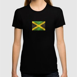 Vintage Aged and Scratched Jamaican Flag T-shirt