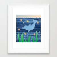 dolphin Framed Art Prints featuring Dolphin by Danielle Waterworth