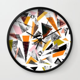 Colourful textured triangles print Wall Clock