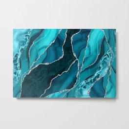 Ocean Waves Marble Teal Metal Print
