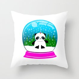Pandacorn in a Snowglobe Throw Pillow