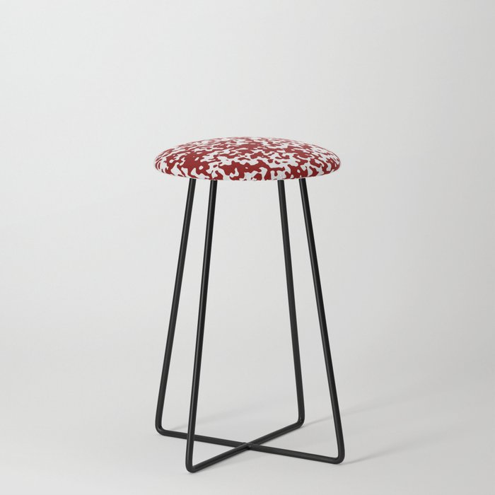 Small Spots White And Dark Red Counter Stool By Melanges