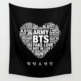 BTS ARMY Fan Art : Typography Wall Tapestry
