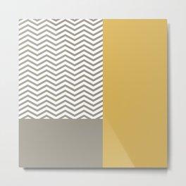 Modern Grey Chevrons Misted Yellow Colorblock Metal Print