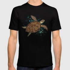 Hawksbill Sea Turtle ~ Watercolor Painting by Amber Marine Black Mens Fitted Tee SMALL