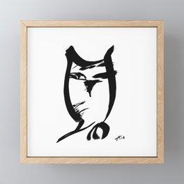 Owl - Fusion of pen strokes Framed Mini Art Print