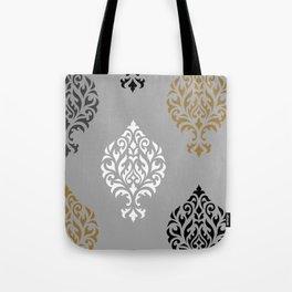 Orna Damask Art I BW Grays Gold Tote Bag