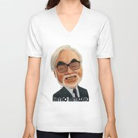 hayao miyazaki V-neck T-shirts featuring Hayao Miyasaki by CarolaRT