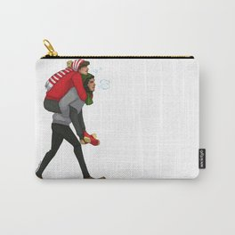 Winter Piggyback Ride  Carry-All Pouch