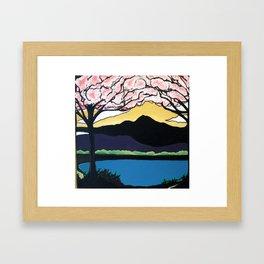 Cherry Blossoms Over Mt.Tam Framed Art Print
