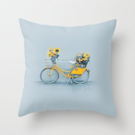 Yellow vintage bike with sunflowers Throw Pillow