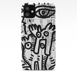 Creatures Graffiti Black and White on French Train Ticket iPhone Case