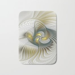 Noble And Golden, Abstract Modern Fractal Art Bath Mat