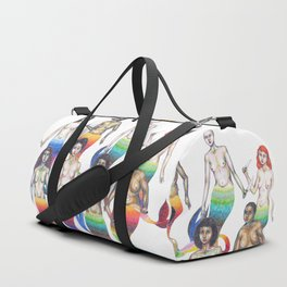 group of mermaids holding knives Duffle Bag