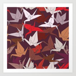 Japanese Origami paper cranes symbol of happiness, luck and longevity, sketch Art Print