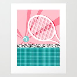 Boo Ya - tennis full court racquet palm springs resort sports vacation athlete pop art 1980s neon  Art Print