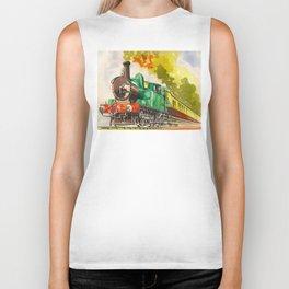 Vintage Mid Century Travel Poster British Railways Steam Engine Watercolor Illustration Biker Tank