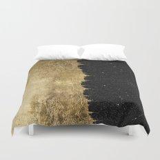 Faux Gold & Black Starry Night Brushstrokes Duvet Cover
