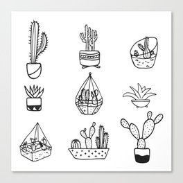 Minimalist Cacti Collection Black and White Canvas Print