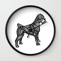 boxer Wall Clocks featuring Boxer by creative.court