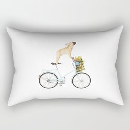 French Bulldog on Bicycle Rectangular Pillow
