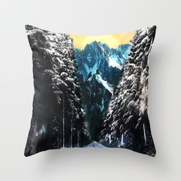 Road To The Mountains Throw Pillow