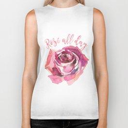 Rosé all day | Watercolor rose Biker Tank
