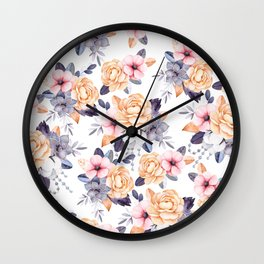 Blush pink purple orange hand painted watercolor floral Wall Clock