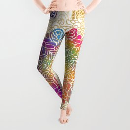 Beautiful Colorful Bohemian Mandala Pattern Leggings