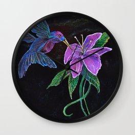 """Blue Hummingbird"" by KC Krimsin Wall Clock"