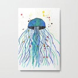 Watercolor Blue Jellyfish Metal Print