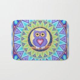 Little Purple Owl Mandala, by Soozie Wray Bath Mat