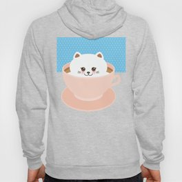 Cute Kawai cat in pink cup, coffee art Hoody