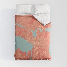 Seattle, Washington City Map, Colorful Comforters