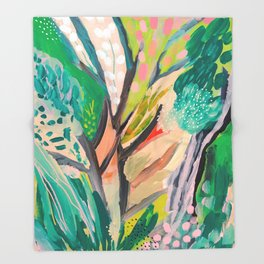 tree and leaf : abstract painting Throw Blanket
