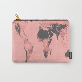 World Map: Gall Peters Pink Carry-All Pouch