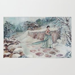 Korean Winter (Watercolor painting) Rug